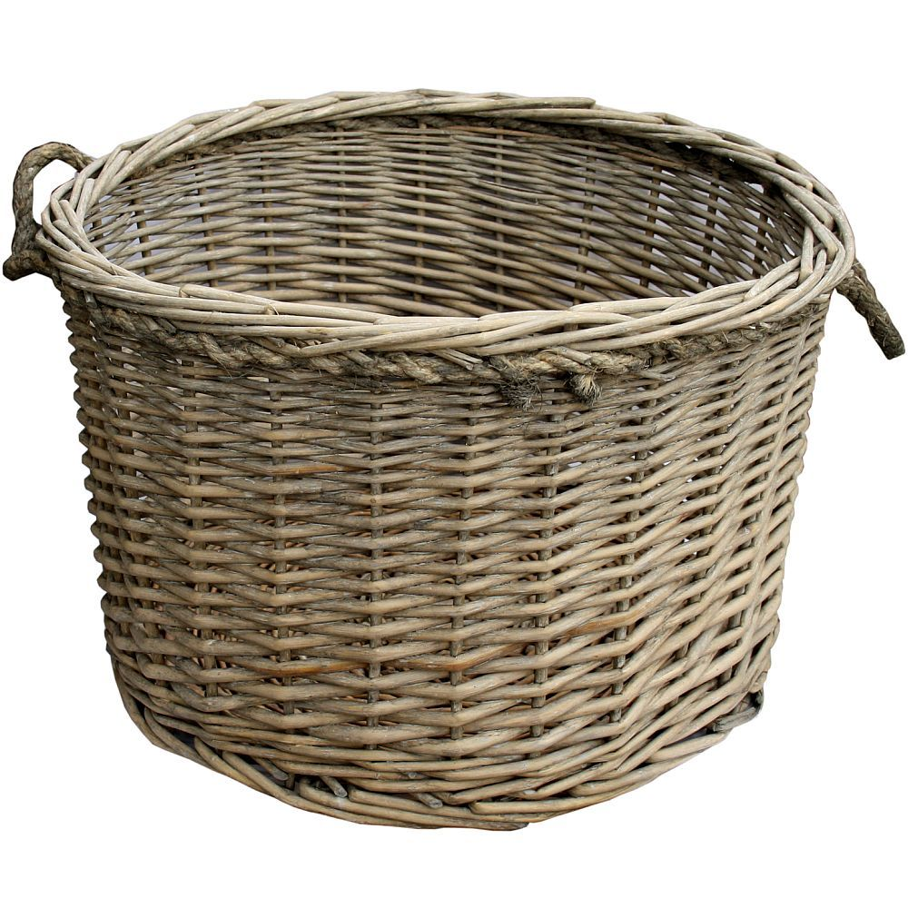 Willow Wicker Storage Basket With Liner For Home: Light Willow Wicker Log Carry Storage Basket Large